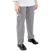 Mercer Culinary M61071HTM Genesis Women's 25 inch M Hounds Tooth Poly-Cotton Cargo Pants