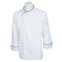 Mercer M62020WRBM Renaissance Men's 40 inch M Customizable White Double Breasted Scoop Neck Long Sleeve Chef Jacket with Royal Blue Piping