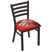 Holland Bar Stool L00418Wisc-W-D2 Black Steel University of Wisconsin Chair with Ladder Back and Padded Seat