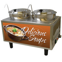 Benchmark USA 51072S Dual 7 Qt. Soup Warmer with Ladles and Lids - 120V, 1200W