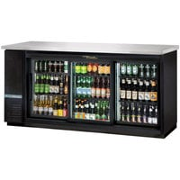 True TBB-24-72G-SD-HC-LD 73 inch Sliding Glass Door Narrow Back Bar Refrigerator with LED Lighting