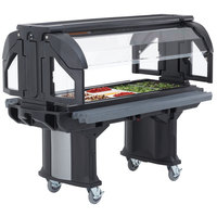 Cambro VBRLHD6110 Black 6' Versa Food / Salad Bar with Heavy Duty Casters - Low Height