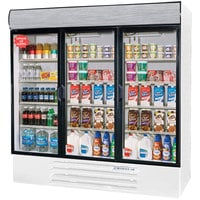 Beverage Air LV72Y-1-W-LED LumaVue 75 inch Three Section Glass Door White Merchandising Refrigerator with LED Lighting- 72 Cu. Ft.