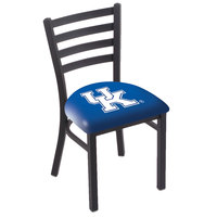 Holland Bar Stool L00418UKY-UK Black Steel University of Kentucky Chair with Ladder Back and Padded Seat