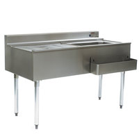 Eagle Group CWS4-18R-7 48 inch Underbar Work Station with Right Mount Ice Bin, Drain Board, and Cold Plate