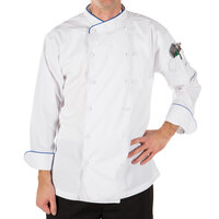 Mercer Culinary M62020WRBS Renaissance Men's 36 inch S Customizable White Double Breasted Scoop Neck Long Sleeve Chef Jacket with Royal Blue Piping