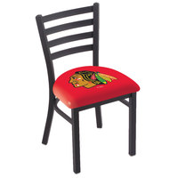 Holland Bar Stool L00418ChiHwk-R Black Steel Chicago Blackhawks Chair with Ladder Back and Padded Seat