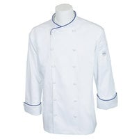 Mercer M62020WRBL Renaissance Men's 44 inch L Customizable White Double Breasted Scoop Neck Long Sleeve Chef Jacket with Royal Blue Piping