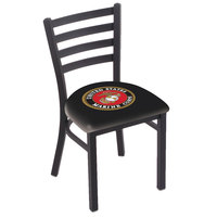 Holland Bar Stool L00418Marine Black Steel United States Marine Corps Chair with Ladder Back and Padded Seat