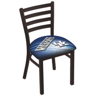 Holland Bar Stool L00418UKY-UK-D2 Black Steel University of Kentucky Chair with Ladder Back and Padded Seat