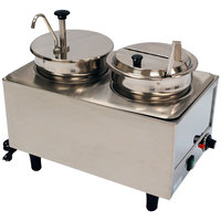 Benchmark USA 51073P Dual 7 Qt. Warmer with Pump, Ladle, and Lid - 120V, 1200W