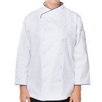 Mercer Culinary M62050WRB2X Renaissance Women's 45 inch 2X Customizable White Double Breasted Scoop Neck Long Sleeve Chef Jacket with Royal Blue Piping
