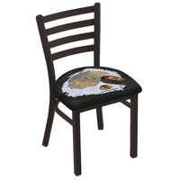Holland Bar Stool L00418ChiHwk-B-D2 Black Steel Chicago Blackhawks Chair with Ladder Back and Padded Seat