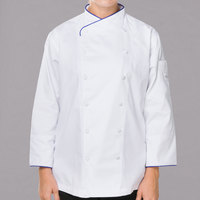 Mercer Culinary Renaissance Women's 49 inch 3X Customizable White Double Breasted Scoop Neck Long Sleeve Chef Jacket with Royal Blue Piping