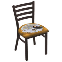 Holland Bar Stool L00418BosBru-D2 Black Steel Boston Bruins Chair with Ladder Back and Padded Seat
