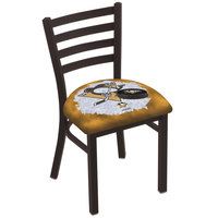 Holland Bar Stool L00418PitPen-D2 Black Steel Pittsburgh Penguins Chair with Ladder Back and Padded Seat