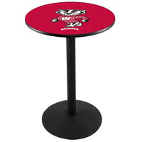 Holland Bar Stool L214B3628WI-BDG 28 inch Round University of Wisconsin Pub Table with Round Base