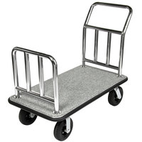 CSL 2111GY-010 Stainless Steel Gray Carpeted Luggage Cart - 48 inch x 26 inch