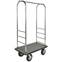 CSL 2099GY-080 43 inch x 23 inch x 72 1/2 inch Easy-Mover Stainless Steel Series Gray Carpeted Luggage Cart with 8 inch Black Semi-Pneumatic Casters