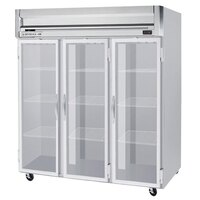 Beverage Air HF3-5G-LED 3 Section Glass Door Reach-In Freezer with LED Lighting - 74 cu. ft., SS Front, Gray Exterior