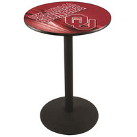 Holland Bar Stool L214B3628OKLHMA-D2 28 inch Round University of Oklahoma Pub Table with Round Base