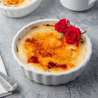 Acopa 8 oz. Round Bright White Fluted Porcelain Souffle / Creme Brulee Dish - 12/Pack