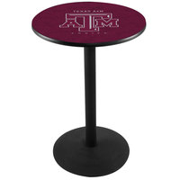 Holland Bar Stool L214B3628TEXA-M 28 inch Round Texas A&M Pub Table with Round Base