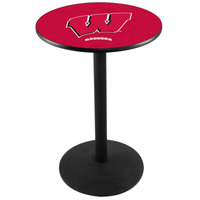 Holland Bar Stool L214B3628WISC-W 28 inch Round University of Wisconsin Pub Table with Round Base