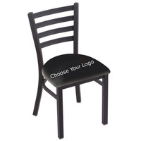Holland Bar Stool Black Steel Logo Chair with Ladder Back and Padded Seat
