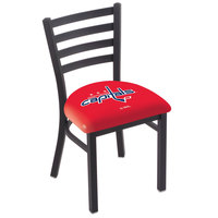 Holland Bar Stool L00418WshCap Black Steel Washington Capitals Chair with Ladder Back and Padded Seat