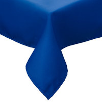 54 inch x 81 inch Royal Blue Hemmed Polyspun Cloth Table Cover