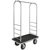 CSL 2099BK-080 43 inch x 23 inch x 72 1/2 inch Easy-Mover Stainless Steel Series Black Carpeted Luggage Cart with 8 inch Black Semi-Pneumatic Casters