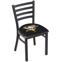 Holland Bar Stool L00418PitPen Black Steel Pittsburgh Penguins Chair with Ladder Back and Padded Seat