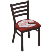 Holland Bar Stool L00418DetRed-D2 Black Steel Detroit Red Wings Chair with Ladder Back and Padded Seat
