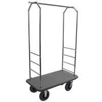 CSL 2000GY-080 43 inch x 23 inch x 72 1/2 inch Easy-Mover Chrome Series Gray Carpeted Luggage Cart with 8 inch Black Semi-Pneumatic Casters