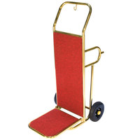 CSL 2211GD Deluxe Gold Finish Red Carpeted Luggage Cart / Hand Truck - 48 inch x 23 inch x 21 inch