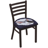 Holland Bar Stool L00418WshCap-D2 Black Steel Washington Capitals Chair with Ladder Back and Padded Seat