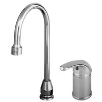 T&S B-2742 Single Lever Faucet with Remote On/Off Control Base, Swivel Gooseneck Assembly, and Flexible Stainless Steel Water Connectors ADA Compliant