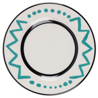 Homer Laughlin Uptown 6 1/4 inch Creamy White / Off White with Turquoise on Black China Plate - 36/Case