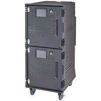 Cambro PCUHC615 Pro Cart Ultra Charcoal Gray Electric 2 Compartment Pan Carrier, Hot Top and Cold Bottom Compartments - 110V