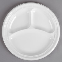 Dart 10CPWF 10 1/4 inch White 3 Compartment Famous Service Impact Plastic Plate - 125/Pack