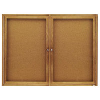 Quartet 364 48 inch x 36 inch Enclosed Cork Board with Oak Frame