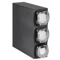 Vollrath H3V-LLL LidSaver 2 Black Shallow Cabinet Vertical Lid Dispenser with 3 Lid Tubes