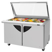 Turbo Air TST-60SD-24-GL 60 inch 2 Door Mega Top Hinged Glass Lid Refrigerated Sandwich Prep Table