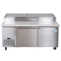 Avantco PICL2-HC 72 inch 2 Door Refrigerated Pizza Prep Table