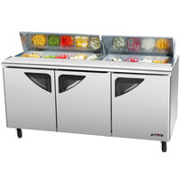 Turbo Air TST-72SD-30-SL 72 inch 3 Door Mega Top Sliding Lid Refrigerated Sandwich Prep Table