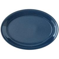 Carlisle 4356035 Dallas Ware 12 inch x 8 1/2 inch Cafe Blue Oval Platter - 24/Case