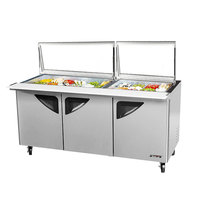 Turbo Air TST-72SD-30-GL Super Deluxe 72 5/8 inch 3 Door Mega Top Refrigerated Sandwich Prep Table with Glass Lids