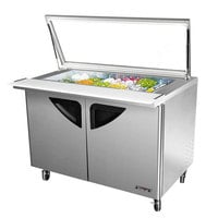 Turbo Air TST-72-SD-30-GL 72 inch 3 Door Mega Top Hinged Glass Lid Refrigerated Sandwich Prep Table