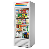 True GDM-26-HST-HC~TSL01 White Glass Door Refrigerated Merchandiser with LED Lighting and Health Safety Timer